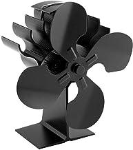 Calentador de estufa Ventilador de estufa de tamaño pequeño para estufa, ventilador de chimenea de 4 aspas más nuevo, 40% más de flujo de aire que otros modelos, ventilador de estufa de aluminio anod