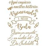 TODO STENCIL Deco Fiesta 038 Cartel Boda, Medidas: Stencil 20 x 30 cm...
