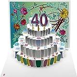 Forever Cards, Tarjeta de cumpleaños cortada con láser, diseño de 40 cumpleaños POP140