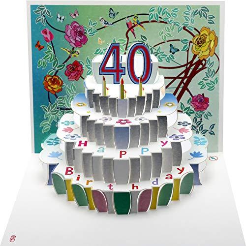 Happy 40th Birthday Laser Cut Pop Up Greeting Card