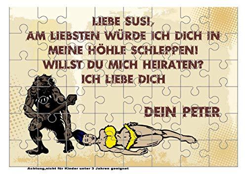 """Puzzle 48teilig - Größe 200 x 285 mm - bedruckt und personalisiert - Motiv 4 """"Hochzeitsantrag"""" mit Wunschnamen"""