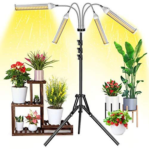 Pflanzenlampe LED mit Ständer, Garpsen 420 Leds Vollspektrum Pflanzenlicht für Zimmerpflanzen, 4 Heads Grow Lampe mit Verstellbares Stativ(0.3-1.6m),3/6/12H Timer,4 Arten von Modus,5 Helligkeitsstufen