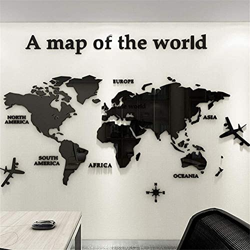 Carte du Monde en Liège,Carte du Monde en Liège pour Accrocher au Mur,Acrylique En Trois Dimensions Décoration En Cristal Bureau Étude Salon Canapé Fond Stickers Muraux 180 * 100cm Noir