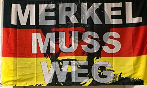 FRIP –Versand Merkel muss Weg Fahne Flagge 1,50x0,90m mit Ösen auch für Demos gegeignet