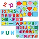GEMEM Alphabet and Number Puzzle Set Wooden Upper Case Letter Number and Shape Learning Puzzles Board Toy, Ideal of Educational Matching Game for 3 4 5 Years Old Toddlers Boys Girls Set of 3