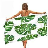 Surwin Toallas de Playa Microfibra, Plantas Tropicales Impresión Grande Toalla de Playa Verano Secado Rápido Arena Antiadherente Absorbente Toalla para Viaje Nadar (Monstera Verde,80x180cm)