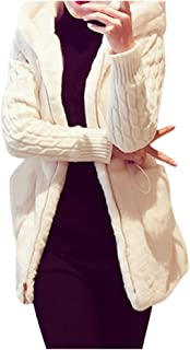 PAQOZ Womens Coat, Winter Cardigan Knitting Plush Hoodies Jacket Warm Outerwear Outercoat