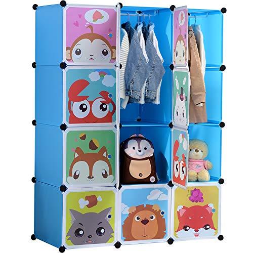 BRIAN & DANY Kinderregal Kinder Kleiderschrank Stufenregal Bücherregal mit Türen & 2 Aufhängern, tiefere Fächer als normal (45 cm vs. 35 cm), 110 x 47 x 147 cm Blau
