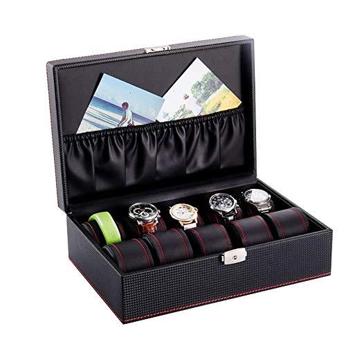 SHANCL Caja de reloj negra con cerradura de cristal, organizador de gran...