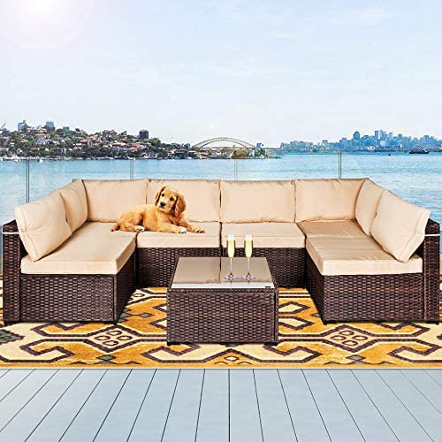 LAFWELL 7 Pieces Outdoor Patio Furniture Sets Rattan Conversation Sectional Set Manual Weaving product image