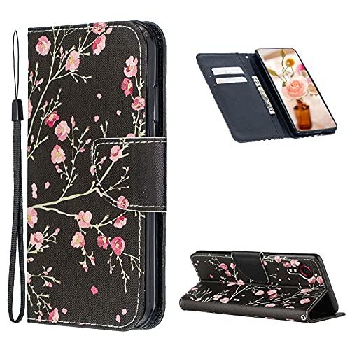 Cestor Gürtel Handyhülle für Samsung Galaxy Xcover 5,Stilvoll Bunt Muster Stoßfest Brieftasche Magnetisch Klapphülle Weich Silikon Ständer Lederhülle mit Kartenfächer,Rosa Blume