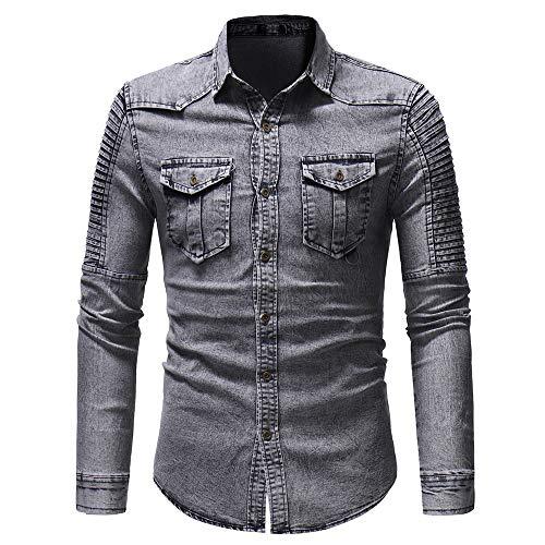 HJHK Men's Jeans Shirt Long Sleeve Denim Vintage Leisure Shirt Shirt Wash Faded Gradient Classic Button Down Tops Retro Fashion Comfortable Breathable Casual Shirt Travel Party Men's Tops XXL