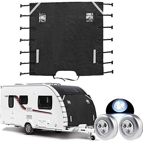 WEDAS - Cubierta universal para caravana con fijaciones mejoradas para caravana y autocaravana con luz LED, protección gruesa y duradera