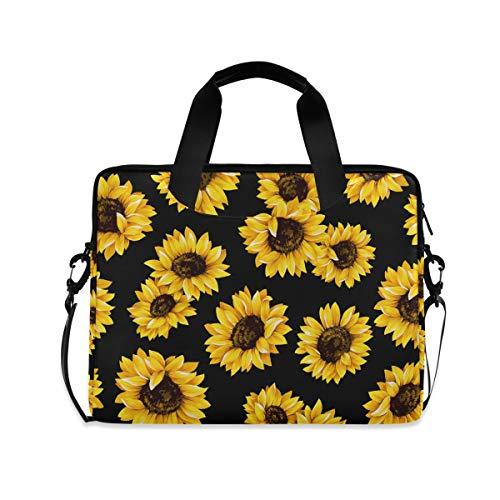 Laptop Case Laptop Bag 15.6 Inch for Women Girls Computer Briefcase Tablet PC Shoulder Bag, Sunflower Black