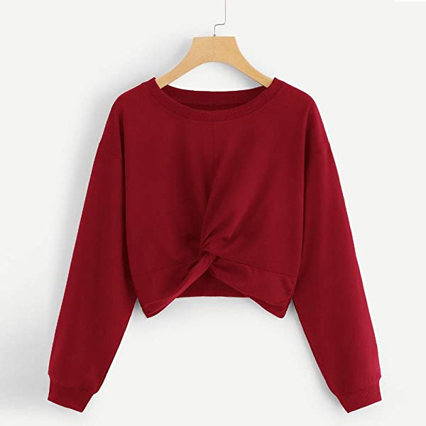 Women S Long Sleeve Knotted Sweatshirt Solid Color Casual Round Neck Tshirt Sweater SADUORHAPPY