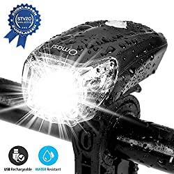 Omasi Bicycle Lights LED StVZO Approved Bicycle Light Bike Lamp USB Rechargeable Bicycle Bike Front Light Waterproof Bike Light 1200mAh Battery MTB Road Bike Black