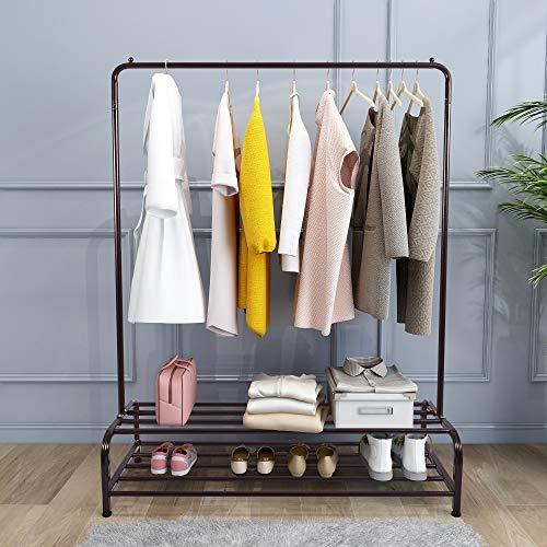 Stand Metal Garment Rack Standard Rod Clothes Rack with Bottom Shelf, Brown
