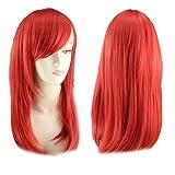lidahaotin Frauen Bunte mittlere Länge Birnen-Kopf-Pop-Art-Perücken für Halloween Cosplay rot