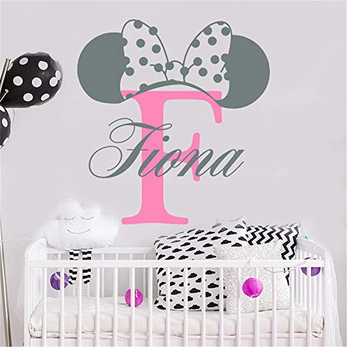 Mickey mouse sticker gepersonaliseerde naam Mickey Mouse Monogram Art Fotobehang aangepaste naam Nursery Baby's Room Decor 49.8x49.8 cm