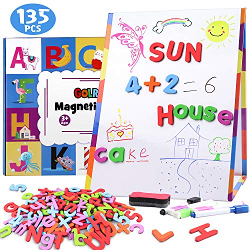 Golray Magnetic Board Kids Tabletop Easel Whiteboard with 124 Magnet Alphabets Letters Numbers, 8...