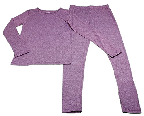 32 Degrees Heat Girls Long Sleeve Crew Neck and Legging Set Heather Fiction Fig Small