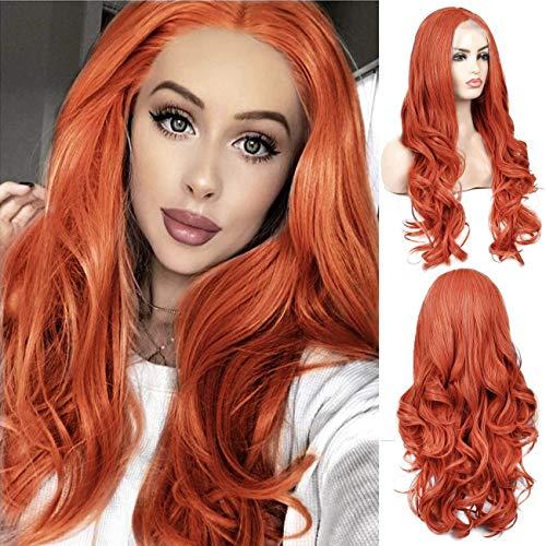 Lace Front Wig Naranja Peluca Mujer Sintética Ondulada Larga 27\