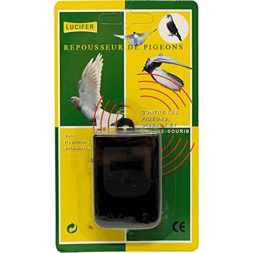 Llucifer 64 - Dissuasore a ultrasuoni per uccelli, ANTI PICCIONI, COLOMBI piccione, a batteria