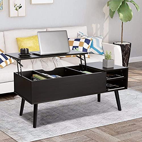 Mesa baja elevable, moderna, mesa baja rectangular con cajón de almacenamiento, mesa baja de salón, para muebles de salón (negro)