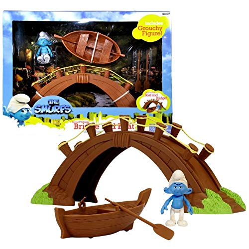 Giochi Preziosi Villaggio dei Puffi - Set Il Ponte e la Barca con Personaggio Puffo Brontolone
