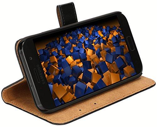 mumbi Echt Leder Bookstyle Hülle kompatibel mit Samsung Galaxy A5 2017 Hülle Leder Tasche Hülle Wallet, schwarz