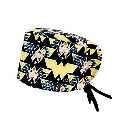 Modelo: WONDER WOMAN CON SISTEMA CLICK - Pelo Largo -Gorro de Quirófano ROBIN HAT con sistema de sujeción con click - Ajustable- 100% algodón (Autoclave)