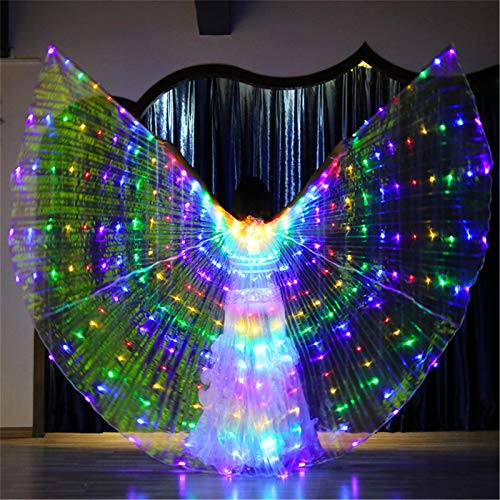 XIALEY Erwachsene Ägyptische Bauchtanzflügel Bunte LED Isis Wings Glühende Leistung Bekleidungszubehör Angel Wings Karnevalskostüm,C