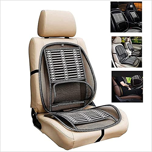 Car Seat Office Chair Bamboo Chip Cover Cushion with Wire Mesh Lumbar Back Support,Breathable Cool Black Mesh with Strap Comfortable Ventilate Support Cushion Pad,Back Pain Relief for Car Seats