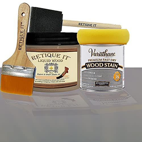 Retique It Liquid Wood - Pint Light Wood with Weathered Gray Stain - Stainable Wood Fiber Paint - Put a fresh coat of wood on it (16oz LW, Weath Gray)