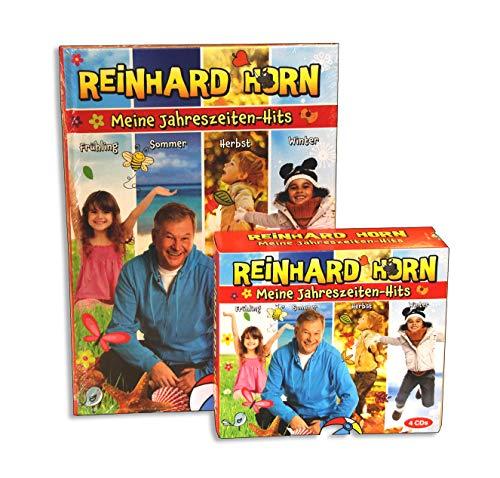 Meine Jahreszeiten-Hits - Songbook von Reinhard Horn - mit 62 Liedern durch das Kalenderjahr - zu vielen Liedern gibt es Spiel-, Bewegungs- und Tanzideen - Buch mit 4CDs