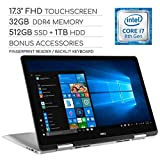 Dell Inspiron 17 7000 Series 2019 2-in-1 17.3' FHD Touchscreen Laptop, 4-Core Intel Core i7-8565U 1.8GHz, 32GB RAM, 512GB SSD + 1TB HDD, Backlit Keyboard, Wi-Fi, Bluetooth, Webcam, HDMI, Windows 10
