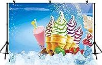 HD 7x5ftアイスクリームブルーの壁紙の背景夏のアイスクリームのさわやかなドリンクの背景夏のさわやかなドリンクアイスクリームショップの背景BJQQLY118