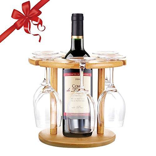 Weinglashalter, Edobil Gläserregal aus Bambus mit modernen Design ist eignet für alle Becher und 1 Flasch Wein