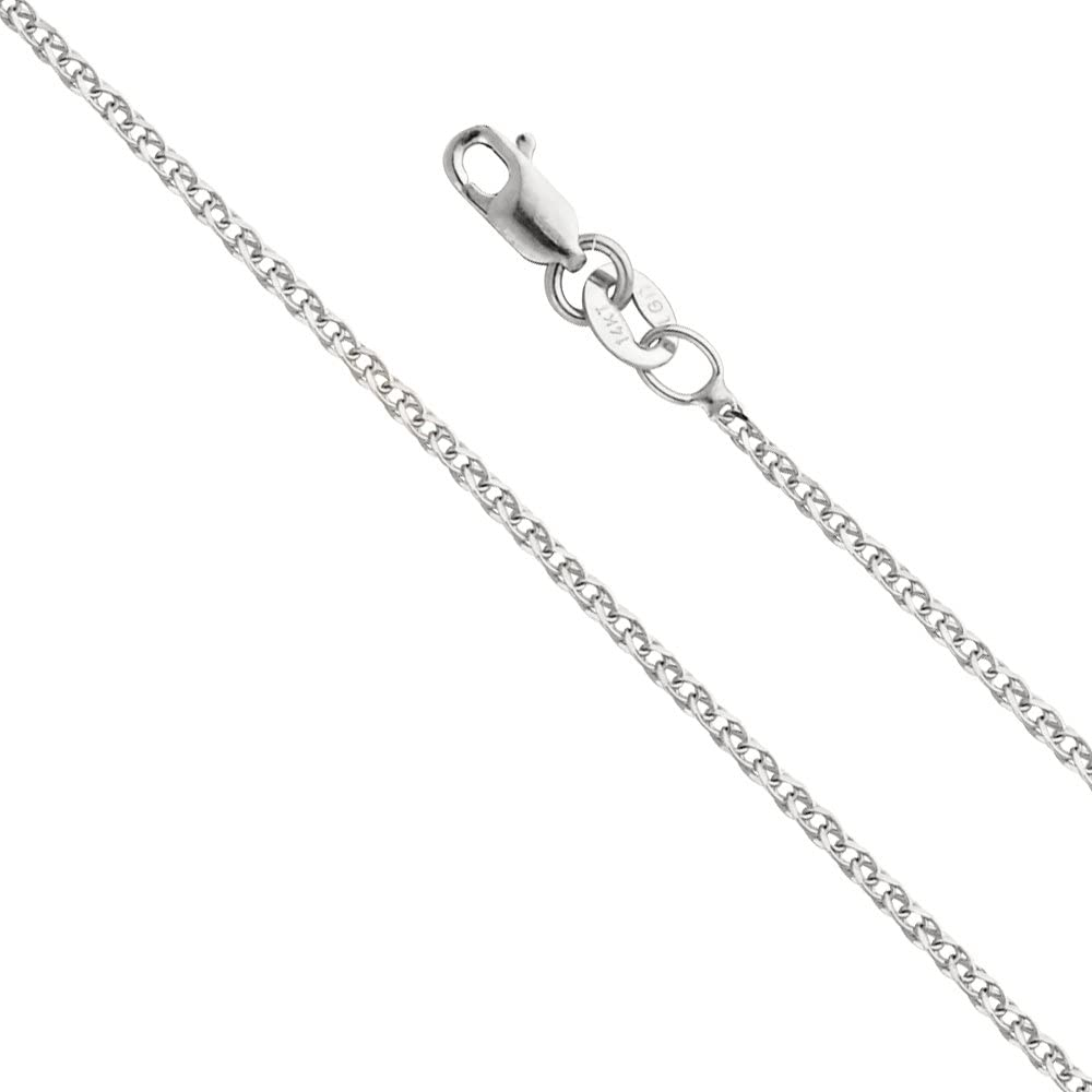 14k REAL Yellow OR White Gold Solid 1.2mm Flat Open Wheat Chain Necklace with Lobster Claw Clasp