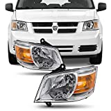 For 08-10 Dodge Grand Caravan OE Replacement Chrome Bezel Headlights Head Lamps