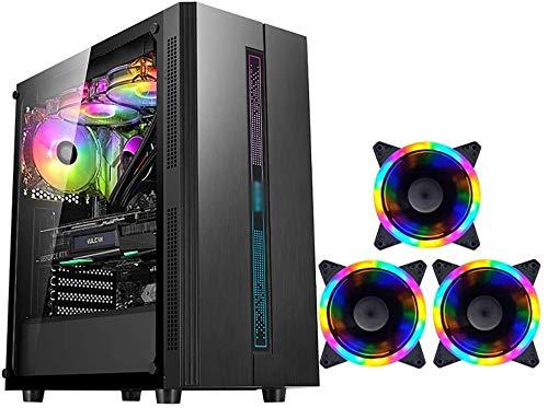Wyl PC Gaming IR? Uso, Mid Tower ATX/M-ATX/ITX PC Caja de computadora, Lado Transparente, Configurar Fan Colorido, para computadora de computadora PC (Color : Black, Size : 3 Fan)