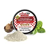 Dirty Mouth Tooth Powder for Teeth Whitening, Toothpaste Powder Teeth Whitener with Essential Oils and Bentonite Clay, 200 uses, Sweet Peppermint Flavor (1 oz) - Primal Life Organics