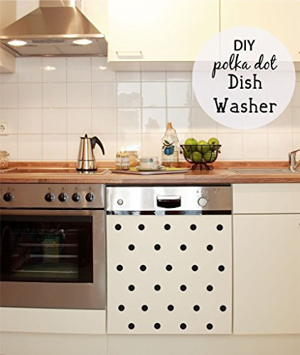 Kitchen Decals - Polka Dot Decals Each Polka Dot 1' by 1' - Kitchen Wall Decals - Dishwasher Decal - Wall Decals - Polka Dots - Decals - Kitchen Decal- Dishwasher, PLUS FREE 12' WHITE HELLO DOOR DECAL