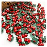 ボタン 50/100ピースuピックレッドチェリープラスチックボタン縫製DIYクラフトPT34 (Color : 100 pcs)