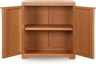 RAHMATH Furniture & Home Needs Plastic Cupboard with Shelf(Wood)