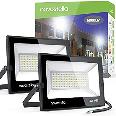 Novostella 60W Outdoor LED Flood Lights 2 Pack 6000lm Bright Out Lights Floodlight Security Led Indoor 5000K Daylight White IP66 Waterproof Outside Led Exterior Light Fixture for Garage House Yard