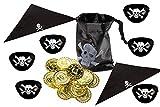 Lila Lotte 130 Teile Piraten Partyset | für 10 Kinder | Mitgebselset | Augenklappen, Bandana | Piratenbeutel mit Münzen
