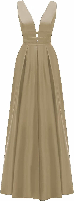 VANLYXCCI Long Satin V-Neck Prom Dresses with Pockets Side Slit Open Back Wedding Party Dresses