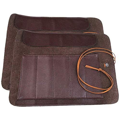 Zidao 2pcs Sac en Cuir Roulant léger Carving Portable Couteau Sac de Rangement Container Outils du Bois Holder Sacs Case,Marron