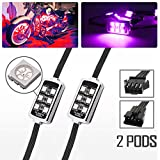 2 Pod LED RGB Multi-color Motorcycle Neon Accent Under Glow Lights for ATV UTV Cruiser Harley Davidson Ducati Suzuki Honda Triumph BMW Kawasaki Yamaha